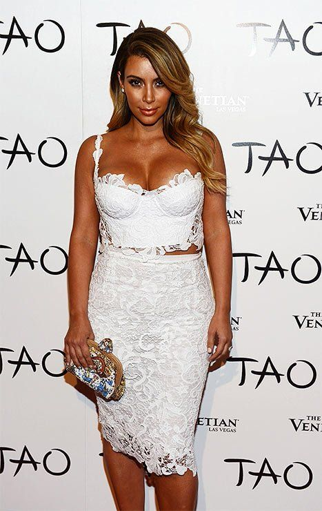 Kim Kardashian Wears A Sexy White Lace Bustier Dress At Las Vegas Birthday Party Pictures