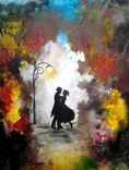 Love Couple Dance  Original Watercolor Painting  Abstract