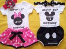 Minnie Mouse onesie Mickey Mouse 1st Birthday pink outfit little