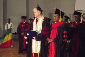 Mekelle university honored Sir bob Geldof a doctorate degree