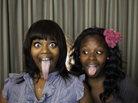 Longest tongue (female): Chanel Tapper (USA, below left) has a tongue