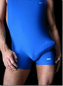 Bulge Grab: Lycra white blue boner