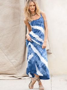 Summer Long Dresses 2012: White Blue Summer Long Dress 2012