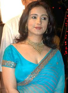 Latest Saree Designs: divya dutta in blue designer georgette saree