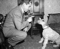 Lucky Luciano training his dog.