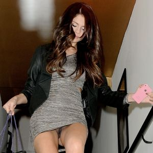 Selena Gomez upskirt without panties and with condom in hand leaving