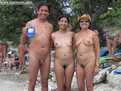 Indian family in a NUDE beach
