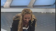 Sabine Lisicki, tennis Downblouse during her visit sportstudio tv