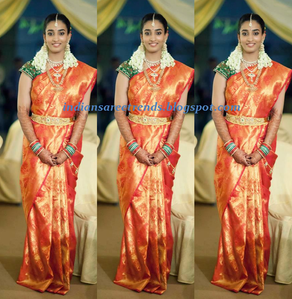 Sarees: Anjana(Nani's wife) in Bridal Wedding Kanjivaram silk Saree
