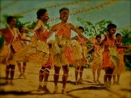 In this paintingmy grade 10 students performing their tribal dance