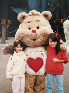 the left of Tenderheart Bear (oh the Carebears!)is my lil' sister