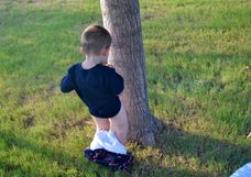 Introduced to peeing outside and, like all little boys, loves it!