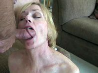 Son cum on mom's face