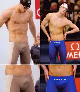 Olympic Swimmer Bulge is best emphasized by nude-colored fabric and a