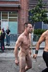 performing males: Naked man lead away