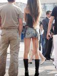Sitting Upskirt Amateur Pantyhose Public