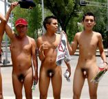 performing males: Naked lads protest