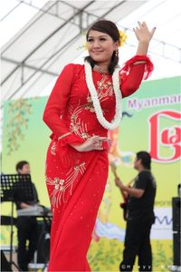 Thet Mon Myint with Red Color Myanmar Thingyan Fashion Dress