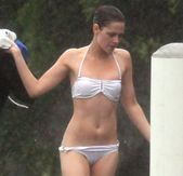 : Kristen Stewart in see through bikini tits and pussy visible Brazil