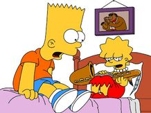 bart and lisa simpson with her