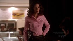 "joanne kelly  various blouses on ""Warehouse 13″"