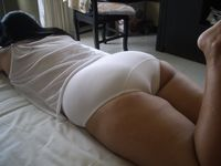 Panties: Asian wife on bed showing bottom in white fullcut panties