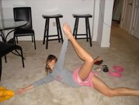 Accidental Pink Panties Up ShortsShowing off more then her flexibility