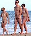 :Trio on a nude beach strollAnother small penis nudist