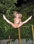 Naked trampoline splits