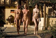 german mom and her two daughters pose nude in spain