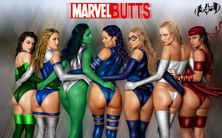 Con ustedes Sersi, Sue Richards, Hulka, Mariposa Mental, Miss Marvel