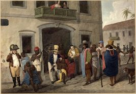 The Slave market at Rio; street where buyers examine slaves, one of