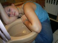 drunk girl passed out toilet