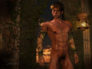 Calendar boy of the Hyborian Age -- male nude fantasy