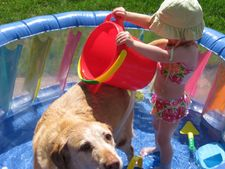 baby pool, nude baby, and washing our dogs in the pool