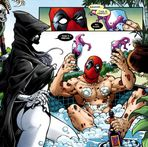 Shirtless Superheroes: Naked Deadpool in a Pool