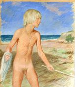 unknown danish artist early 20th century nackter knabe am strand