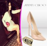 Haifa also chose these nude pointy toe pumps by Jimmy Choo to wear