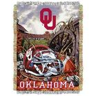 Oklahoma (OU) Sooners football throw blanket with football and