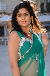 %25285%2529 Actress Deeksha Seth in Hot Spicy Green Saree Wallpapers