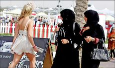 Frock and awe  Muslim women stare at a girl in skimpy dress