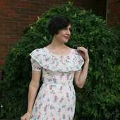 1930s White & Floral Cotton Voile Garden Party Gown