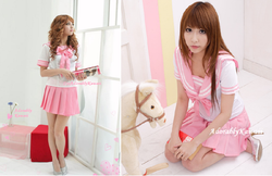 adult maid costume , pink sailor long sleeve japanese school girl