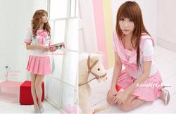 adult maid costume , pink sailor long sleeve japanese school girl