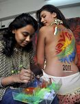 "Mink Singh"" Hot Back Body Paint for Cricket World Cup 2011"