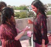 Holi playing hot indian girls in wet dress  Chuttiyappa
