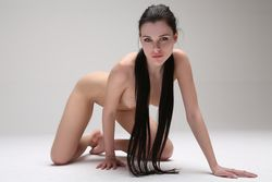 Valeria A Gorgeous Brunette Getting Naked For Camera And Posing Nude