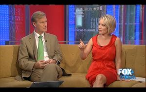 Dana Perino on a long red dress this Monday morning