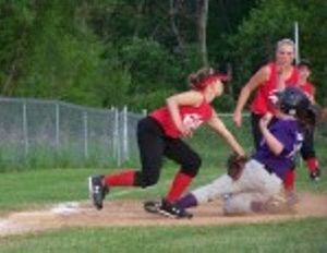 Kaylee Brooks tags Brooke Daniels out at 3rd Base