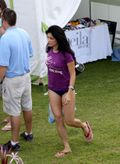 Kelly Hu in blue bikini bottoms and what a nice arises shot! Kelly Hu